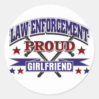 Law Enforcement Proud Girlfriend Round Stickers