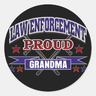 Law Enforcement Proud Grandma Round Stickers