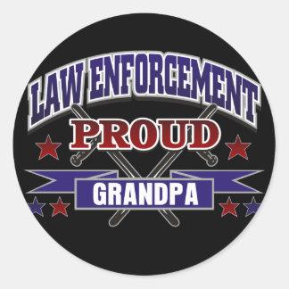 Law Enforcement Proud Grandpa Round Sticker