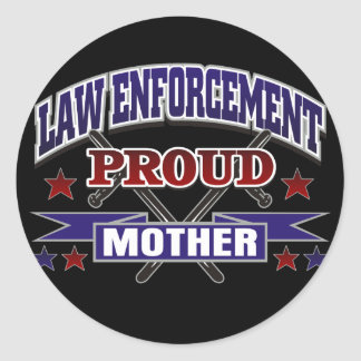 Law Enforcement Proud Mother Round Sticker