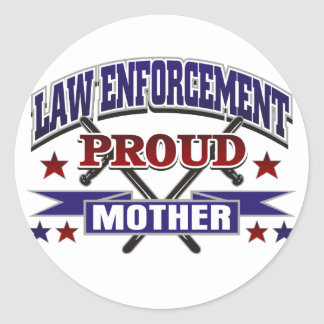 Law Enforcement Proud Mother Round Stickers