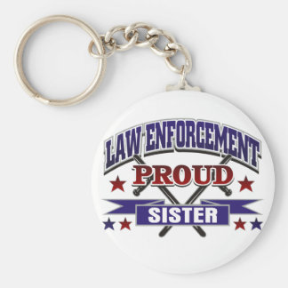 Law Enforcement Proud Sister Basic Round Button Key Ring