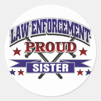 Law Enforcement Proud Sister Round Sticker