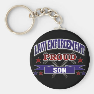 Law Enforcement Proud Son Basic Round Button Key Ring