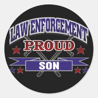 Law Enforcement Proud Son Classic Round Sticker