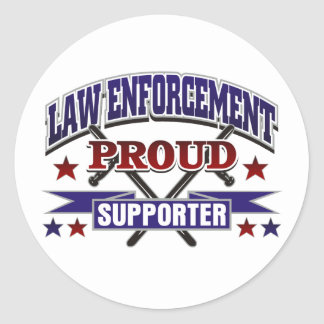 Law Enforcement Proud Supporter Round Sticker