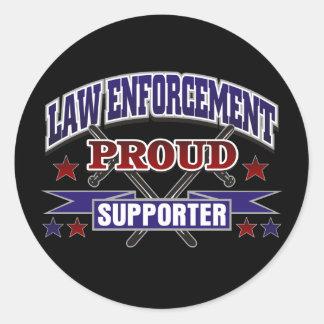 Law Enforcement Proud Supporter Round Sticker