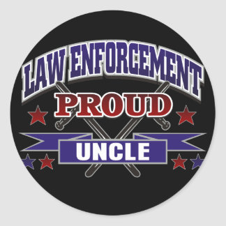 Law Enforcement Proud Uncle Round Sticker