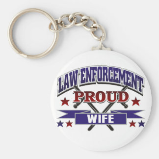 Law Enforcement Proud Wife Basic Round Button Key Ring