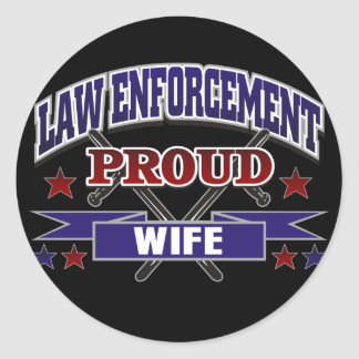 Law Enforcement Proud Wife Round Sticker