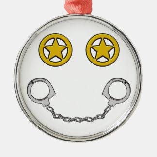 Law Enforcement Smile Silver-Colored Round Decoration