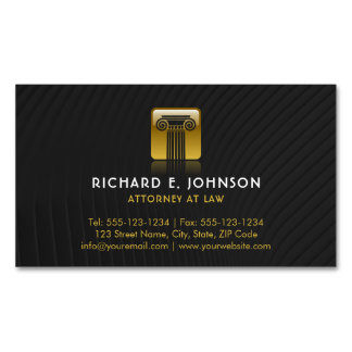 Law Firm Black Flat Gold Justice Pillar Lawyer Magnetic Business Cards