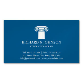 Law Firm Blue Pillar of Justice Lawyers Solicitor Magnetic Business Cards