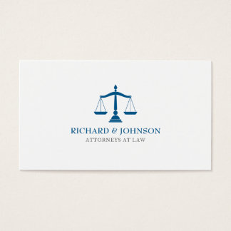 Law Firm Blue Scales of Justice Lawyer Solicitor Business Card