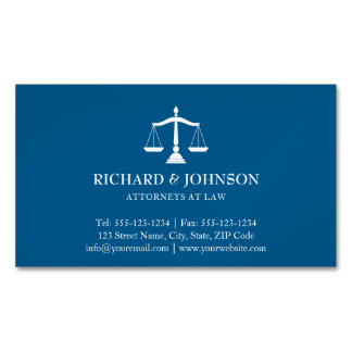 Law Firm Blue Scales of Justice Lawyers Solicitor Magnetic Business Card