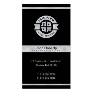 Law Firm | Legal Services Silver Black Pack Of Standard Business Cards