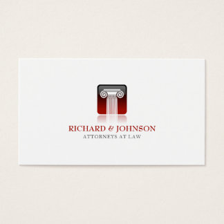 Law Firm Red Pillar of Justice Lawyer Solicitor Business Card