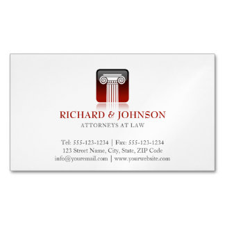 Law Firm Red Pillar of Justice Lawyers Solicitor Magnetic Business Card