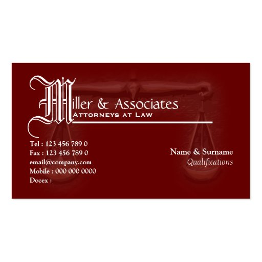 Create your own judge business cards page2 law legal attorney advocate burgundy business card reheart Choice Image