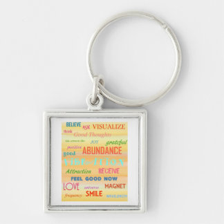 """""""LAW OF ATTRACTION"""" Silver-Colored SQUARE KEY RING"""