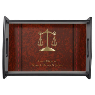 Law | Scales of Justice | Lawyer | Brownish Red Service Trays