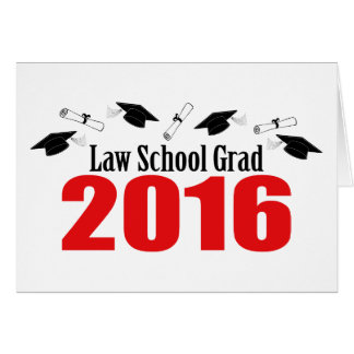 Law School Grad Class Of 2016 Caps (Red) Card