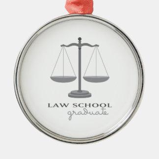 Law School Graduate Silver-Colored Round Decoration