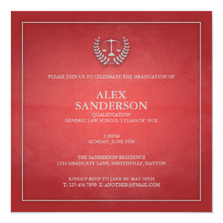 Law School Graduation Announcement | Red