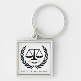 law school graduation gift Silver-Colored square key ring