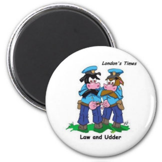 Law & Udder Funny Cow Cartoon Gifts, Collectibles 6 Cm Round Magnet