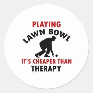 Lawn bowl design round stickers