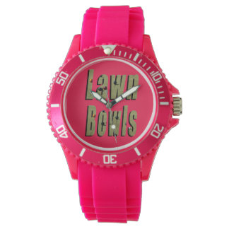 Lawn Bowl Dimensional Logo Ladies Pink Sport Watch