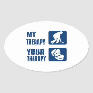 Lawn bowl therapy designs oval sticker