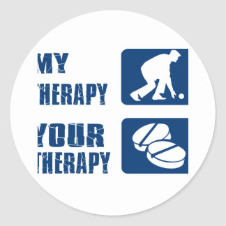 Lawn bowl therapy designs round sticker