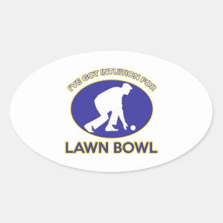 Lawn bowling design oval sticker