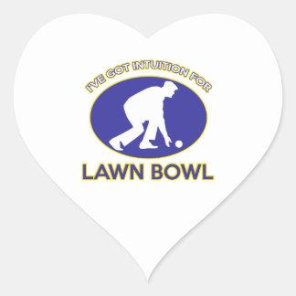 Lawn bowling design heart sticker