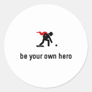 Lawn Bowling Hero Round Sticker