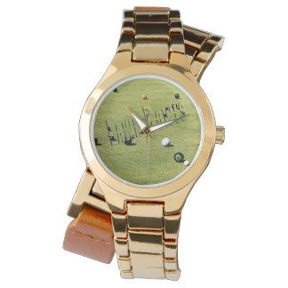 Lawn_Bowls_Action_Logo_Ladies_Gold_Wrap_Watch Watch