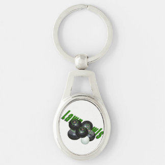 Lawn Bowls And Logo, Silver Metal Oval Keyring. Key Ring