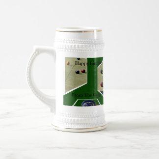 Lawn_Bowls_Birthday_White_Beer_Stein_Mug. Beer Stein