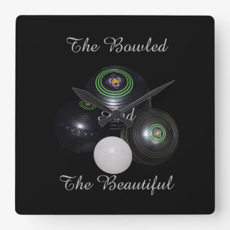 Lawn Bowls Bowled Beautiful Square Wall Clock. Square Wall Clock