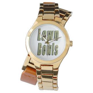 Lawn Bowls Dimensional Logo Ladies Gold Watch