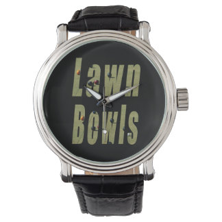 Lawn Bowls Dimensional Logo, Mens Leather Watch