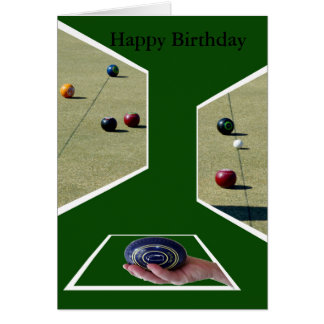 Lawn Bowls Dimensions, Greetings Birthday Card. Card
