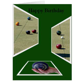 Lawn Bowls Dimensions, Happy Birthday Card. Big Greeting Card