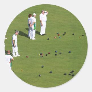 Lawn Bowls England Round Sticker