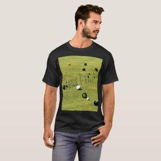 Lawn  Bowls Game And Logo, Mens Black T-shirt