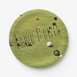 Lawn Bowls Game And Logo, Paper Party Plate. Paper Plate