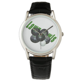 Lawn_Bowls_Logo_Image_Mens_Classic_Leather_Watch. Watch