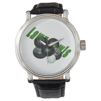 Lawn_Bowls_Logo_Image_Mens_Leather_Watch Watch